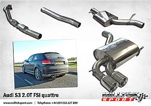 Audi S3 2.0T full turbo back exhaust system ready
